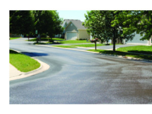 Residential paved street.