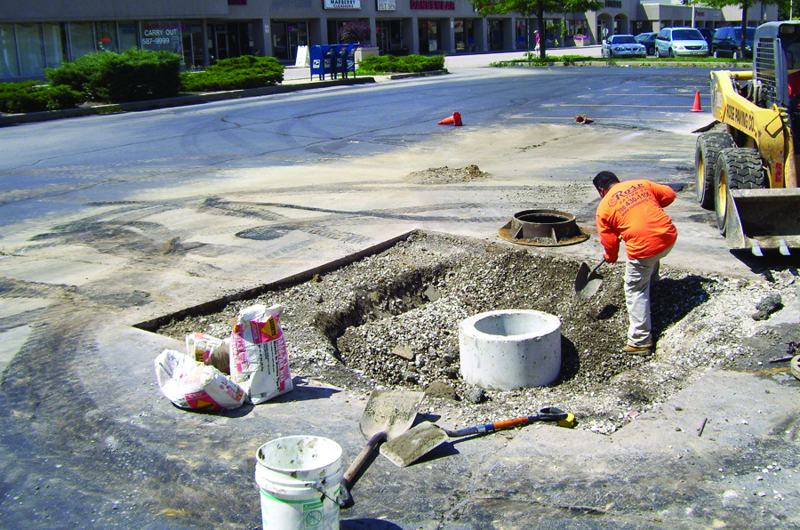 Installation of a new concrete basin