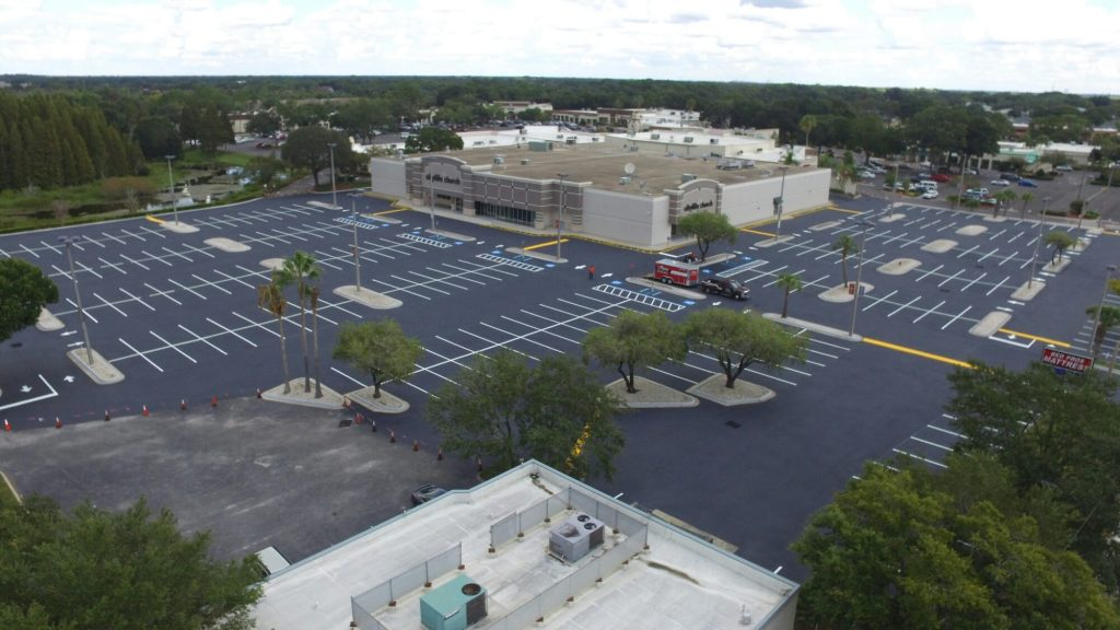 Aerial of parking lot striping in Tampa FL