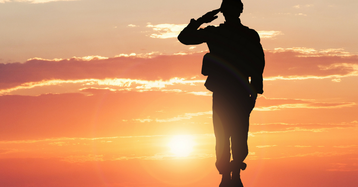 shadow of a soldier saluting