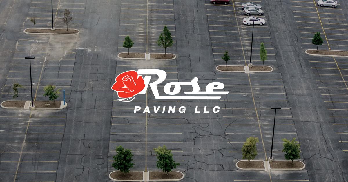 Rose Paving logo over vast parking lot