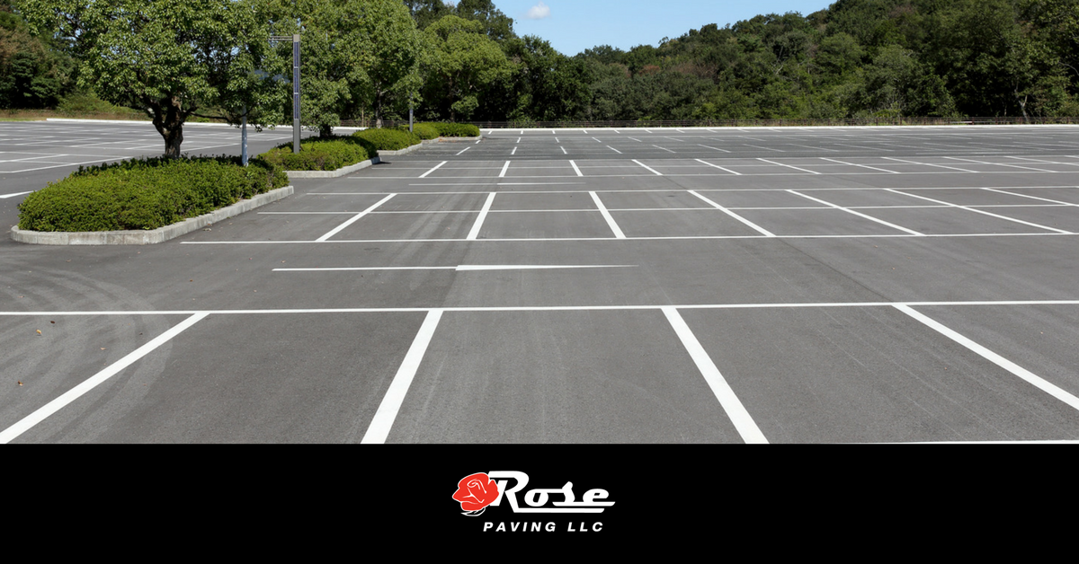 Rose Paving newly painted and paved parking lot