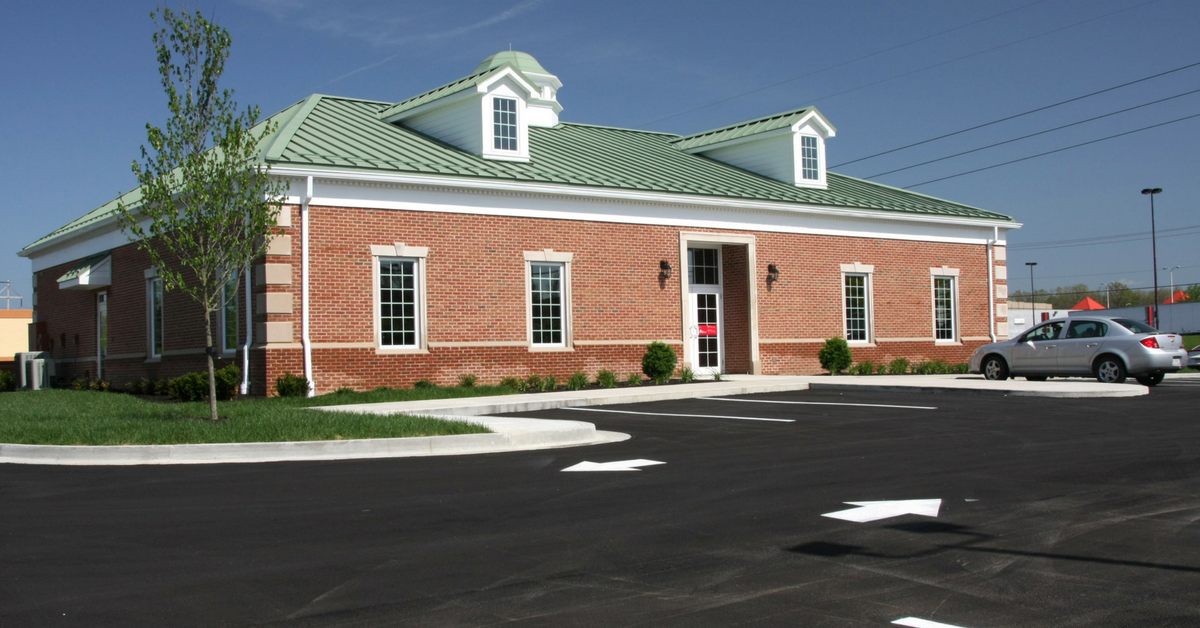 Financial institution with new pavement