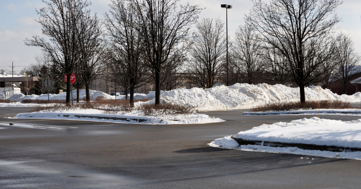 winter parking lot cleared of snow